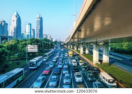 modern city traffic at morning in shanghai China