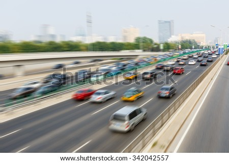 modern city traffic jam in the rush hour??Motion fuzzy automotive background #342042557