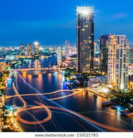 modern city view of bangkok thailand cityscape stok