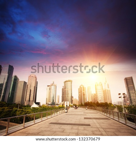 modern city with sunset - stock photo