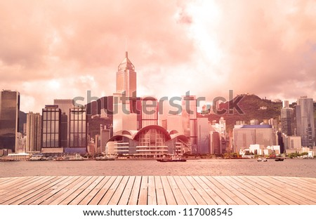 Modern city with sunshine sky (Hongkong) ,victoria harbour.