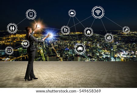 modern cityscape and business person, Internet of Things, Information Communication Technology, abstract image visual #549658369