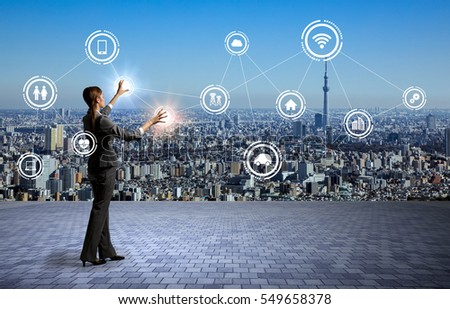 modern cityscape and business person, Internet of Things, Information Communication Technology, abstract image visual #549658378