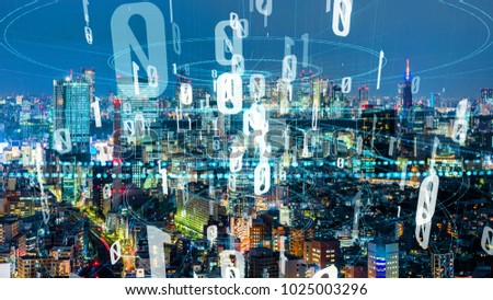 Stock Photo Modern cityscape and digital transformation concept. Smart city.