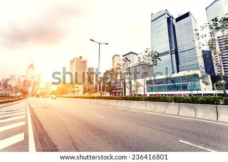 modern cityscape and road of Hongkong