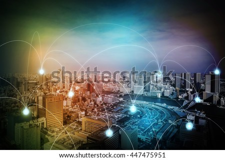 modern cityscape and wireless sensor network, sensor node and connecting line, ICT(information communication technology), internet of things, abstract image visual
