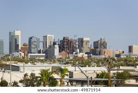 Modern Cityscape of Phoenix Downtown Business Park, Arizona - stock photo