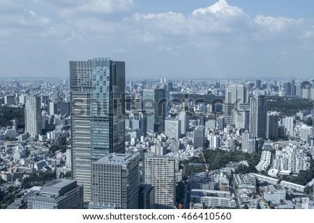 modern cityscape, overlook from skyscraper, tokyo, japan #466410560