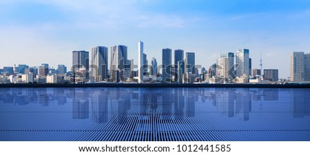 Modern cityscape viewed from observation platform. #1012441585