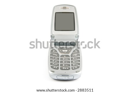 Modern clamshell phone isolated on a white background