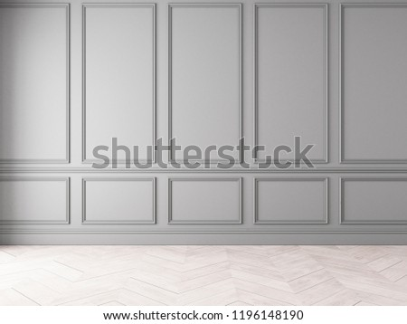 Modern classic gray empty interior with wall panels and wooden floor. 3d render illustration mock up.
