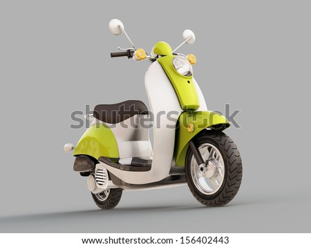 Modern classic scooter on a grey background #156402443