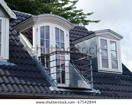 Modern classical design vertical roof windows with balcony veranda and black tiles