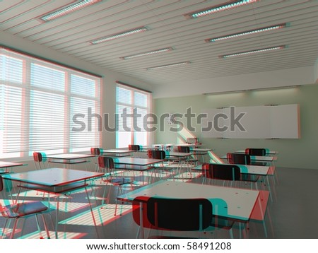 modern classroom interior in stereo anaglyph effect (to view -need stereo glasses)