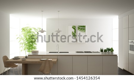 Modern clean contemporary white kitchen, island and wooden dining table with chairs, bamboo and potted plants, big window and herringbone parquet floor, minimalist interior design, 3d illustration