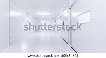 modern clean interior science laboratory background with lighting in monotone color