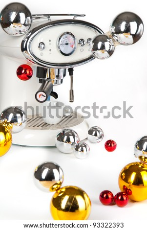 Modern Coffee Machine (maker) with christmas balls isolated on white background with Clipping Path.