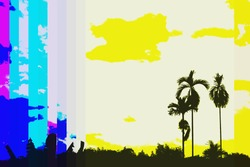 modern color silhouette of Thai palm trees on yellow sky and across color violet cyan margenta