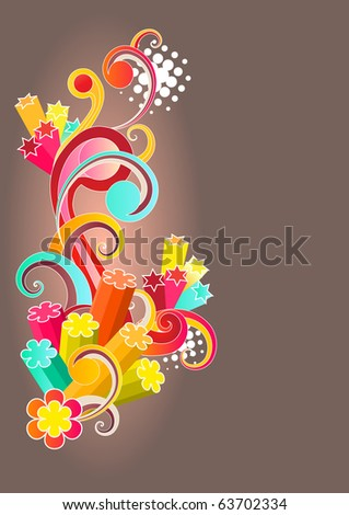 Modern colored background with beautiful bright stylized ornament and free space for your text. Raster version. Vector version is in my gallery.