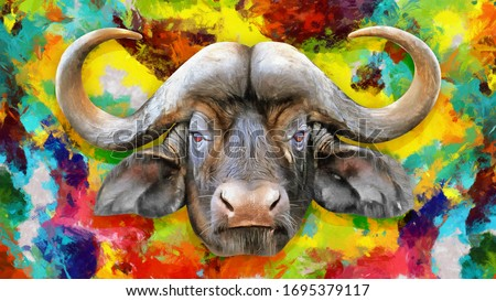 modern colorful oil painting of African buffalo, artist collection of animal painting for decoration and interior, canvas art, abstract buffalo head on colorful background