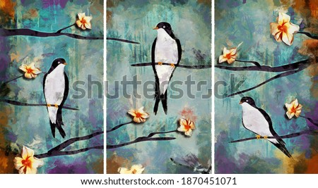 modern colorful Swallow oil painting with flowers. Abstract painting for interior . collection of designer oil paintings. Decoration for interior. Contemporary abstract art on canvas.