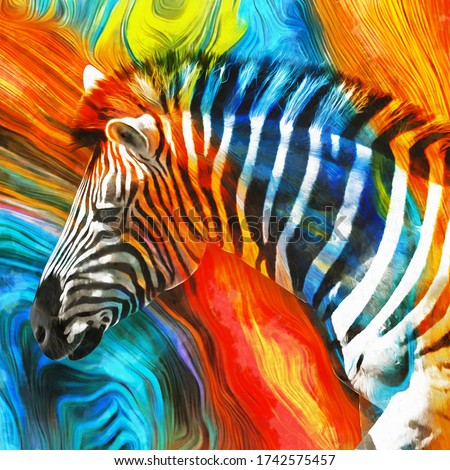 modern colorful zebra oil painting. Abstract painting for interior decoration. contemporary style artwork with chaotic paint strokes and splashes, artist collection of animal painting. Set of pictures