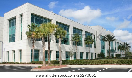 Modern commercial building on a beautiful day.