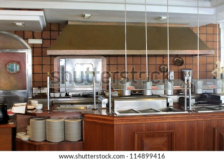 Modern Commercial Kitchen In Hotel, Restaurant Or Business. Stock
