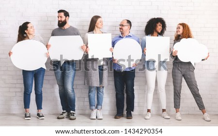 Modern communication. Group of people chatting with speech bubbles, free space