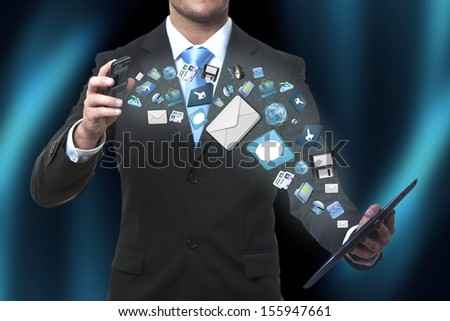 Modern communication technology illustration with mobile phone and tablet in hands of business men