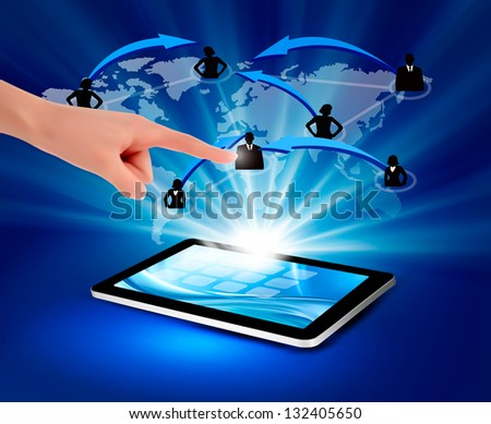 Modern communication technology illustration with tablet. Raster version of vector