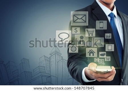 Modern communication technology mobile phone concept on high tech background
