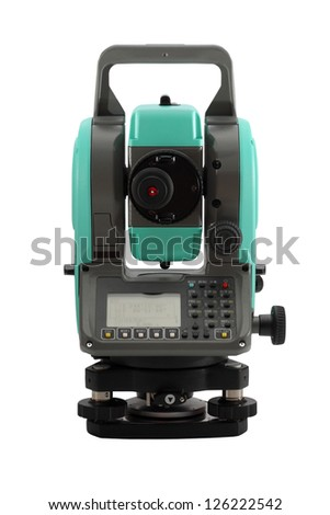 Modern, compact multipurpose theodolite isolated on a white background. - stock photo