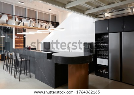 Modern comprehensive office interior, Bar leisure area