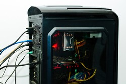 Modern computer CPU with cooling Fan,Modern system, processor, graphics card, motherboard etc with clolorful lights.