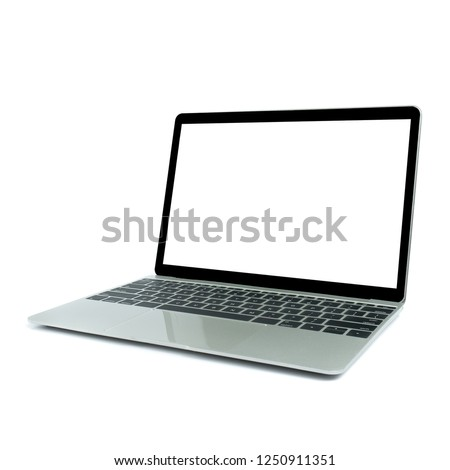 Modern computer, Laptop in angled position view with blank screen isolated on white background.mockup or template for advertising #1250911351