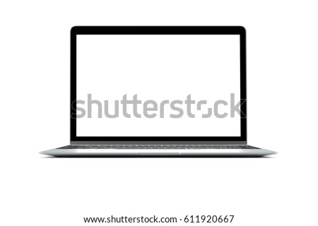 Modern computer laptop isolate with clipping mask on white background for mockup ,3D illustration