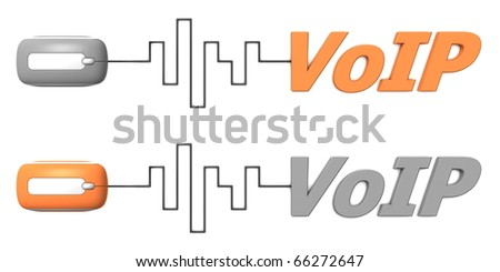 modern computer mouse connected to the word VoIP via digital waveform cable - mouse and word both in grey and orange - stock photo
