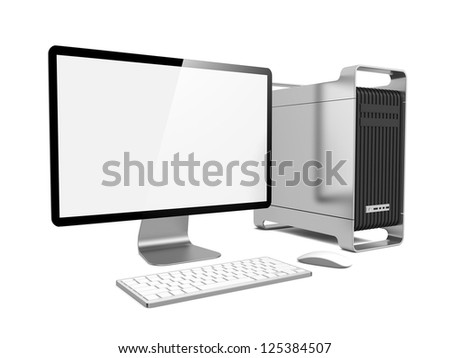Modern Computer Station. Isolated on White.