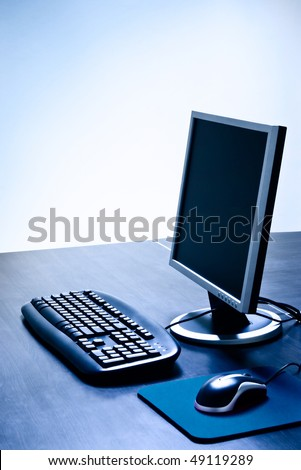 modern computer with LCD on desk