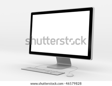 modern computer workstation with blank screen