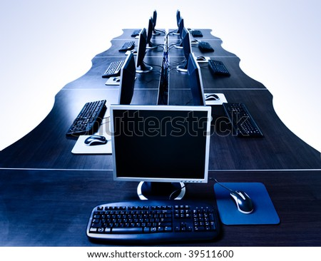 modern computers in IT office isolated with clipping path
