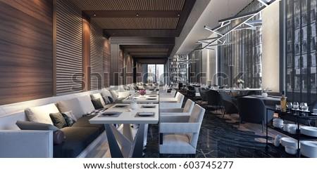 Modern concept design of restaurant lounge 3D Rendering, 3D Illustration