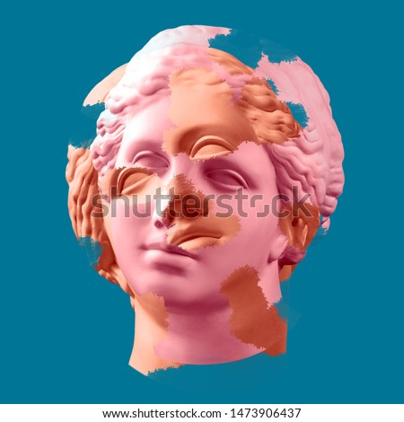 Modern conceptual art colorful poster with ancient statue of bust of Venus. Collage of contemporary art.