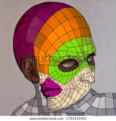 Modern conceptual art portrait painting of a 3D model wireframe of a transgender person.