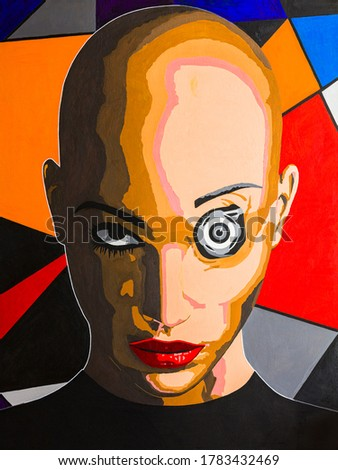 Modern conceptual art portrait painting of a transgender person in a cyber space reality.