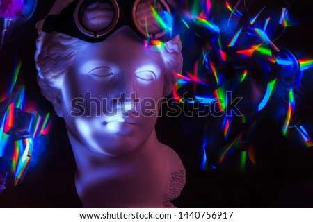 Modern conceptual art poster with ancient statue of bust of Venus. Contemporary art photo.