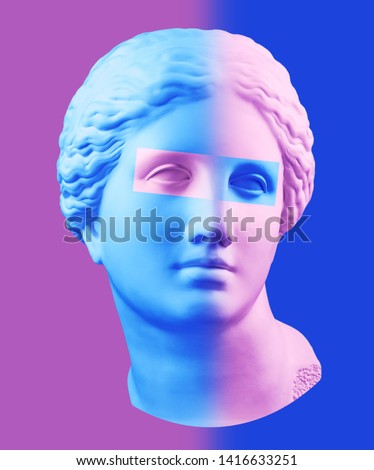 Modern conceptual art poster with blue purple colorful antique Venus bust. Contemporary art collage.