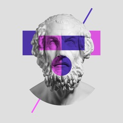 Modern conceptual artwork with ancient statue bust isolated over light gray background. Purple and pink. Collage of contemporary art. Fashion design. Copy space for ad. text, your design