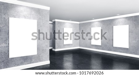 Modern concrete gallery room with directional spotlight and frames. Product artwork exhibition mock up. 3d rendering illustration of interior with gray plaster walls in perspective and polished stone
